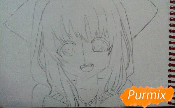 Рисуем милую аниме девочку в кофте цветными карандашами - шаг 6