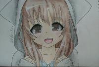 Рисуем милую аниме девочку в кофте цветными карандашами