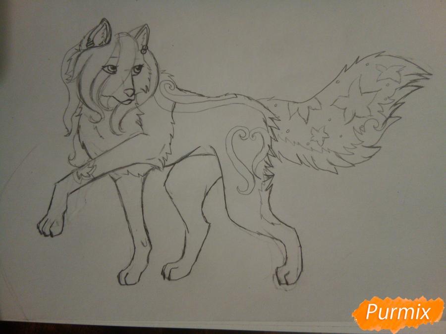 Рисуем милую розовую аниме волчицу - шаг 5