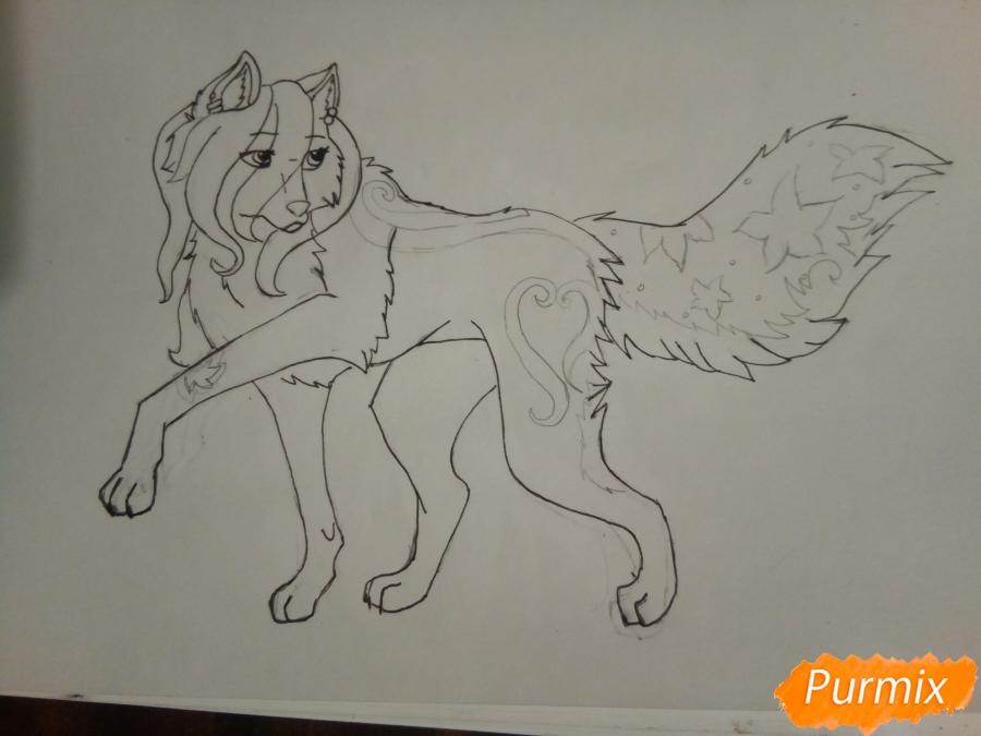 Рисуем милую розовую аниме волчицу - шаг 6