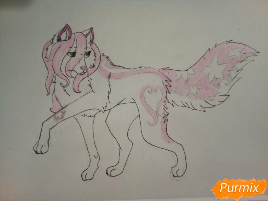 Рисуем милую розовую аниме волчицу - шаг 7