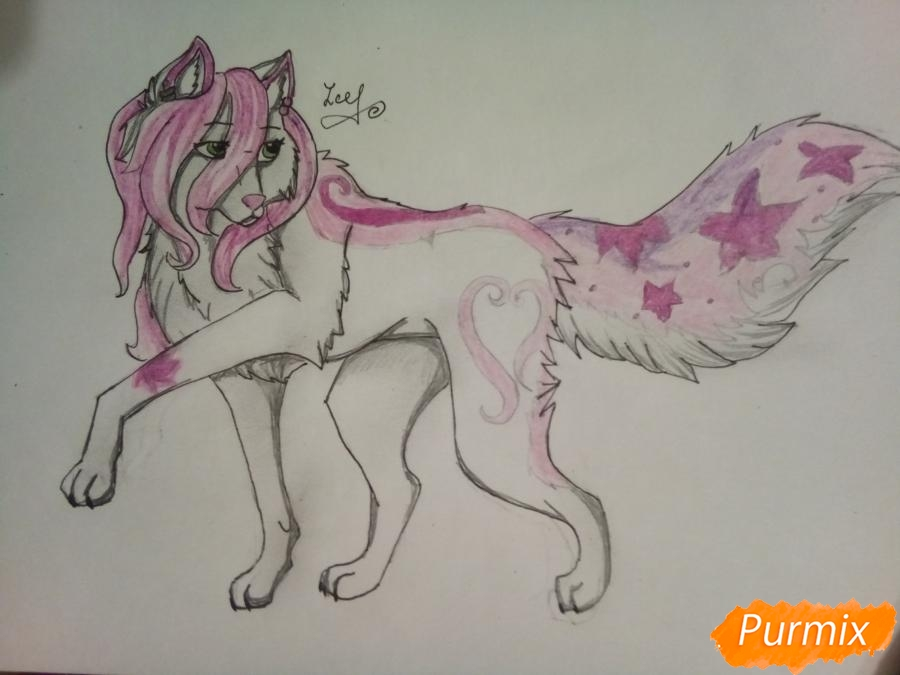 Рисуем милую розовую аниме волчицу - шаг 8