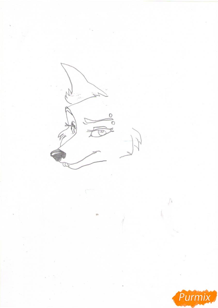 Рисуем портрет аниме волчицы - шаг 3