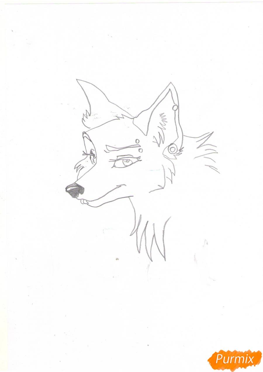 Рисуем портрет аниме волчицы - шаг 4