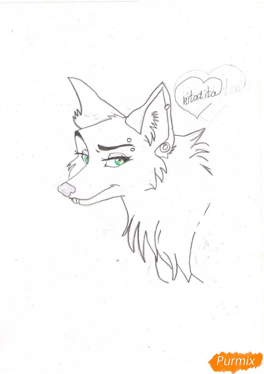 Рисуем портрет аниме волчицы - шаг 6