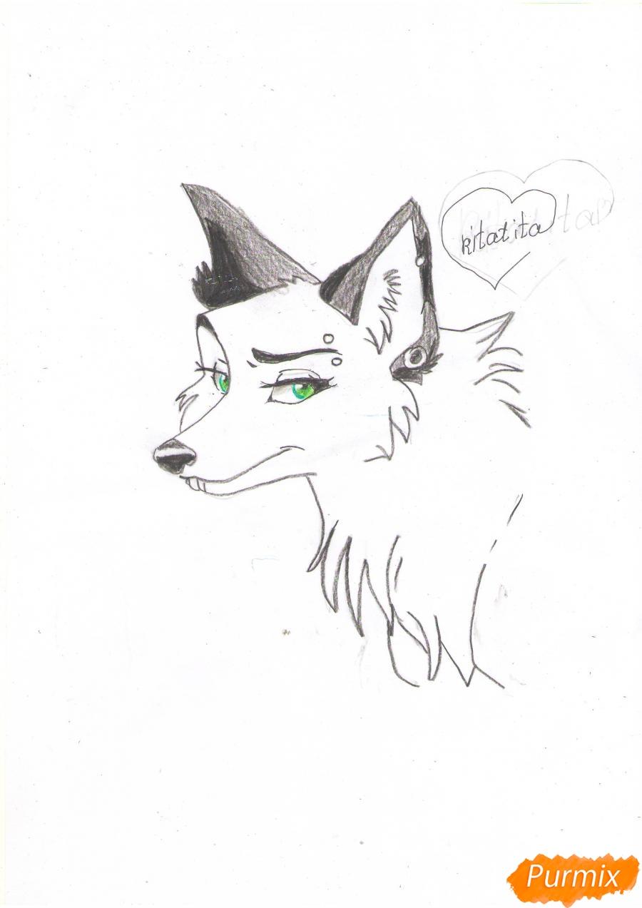 Рисуем портрет аниме волчицы - шаг 7