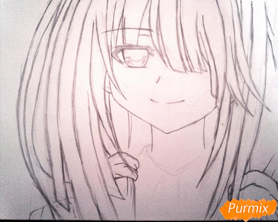 Рисуем портрет Куруми Токисаки - шаг 4