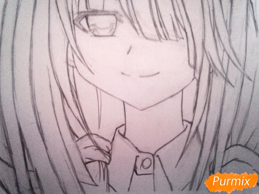 Рисуем портрет Куруми Токисаки - шаг 5