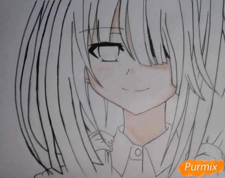 Рисуем портрет Куруми Токисаки - шаг 6
