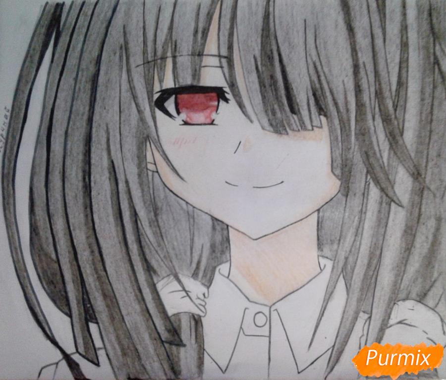 Рисуем портрет Куруми Токисаки - шаг 8