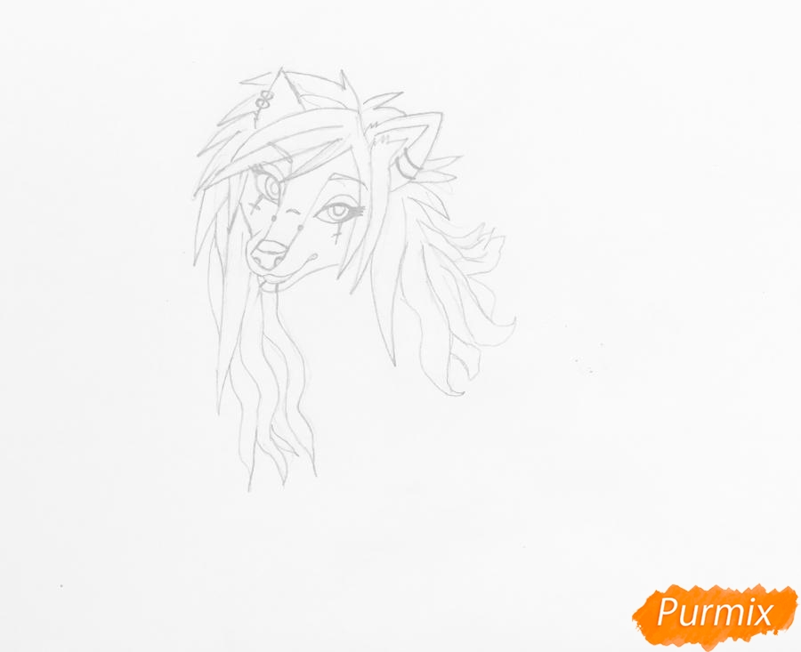 Рисуем розово-фиолетовую аниме собаку с пирсингом - шаг 3