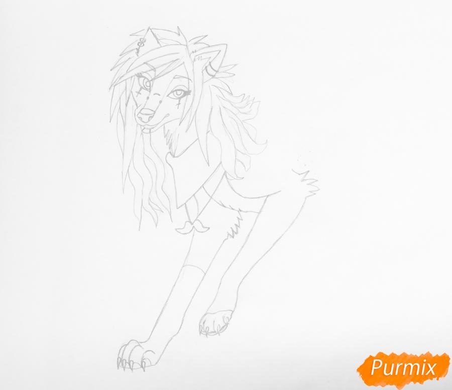 Рисуем розово-фиолетовую аниме собаку с пирсингом - шаг 4