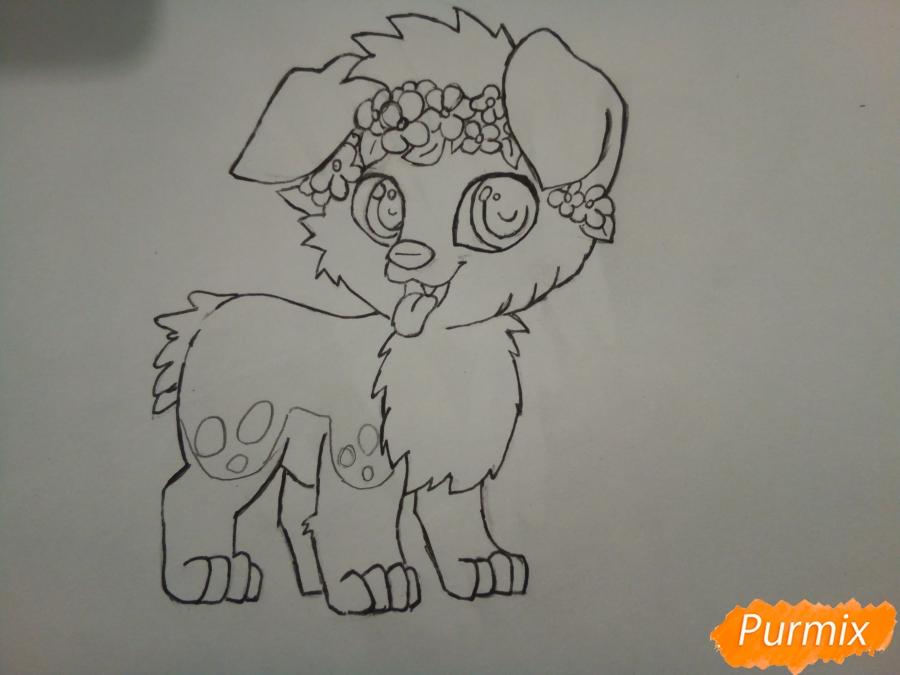 Рисуем рыжего щенка с веночком в стиле аниме - фото 5