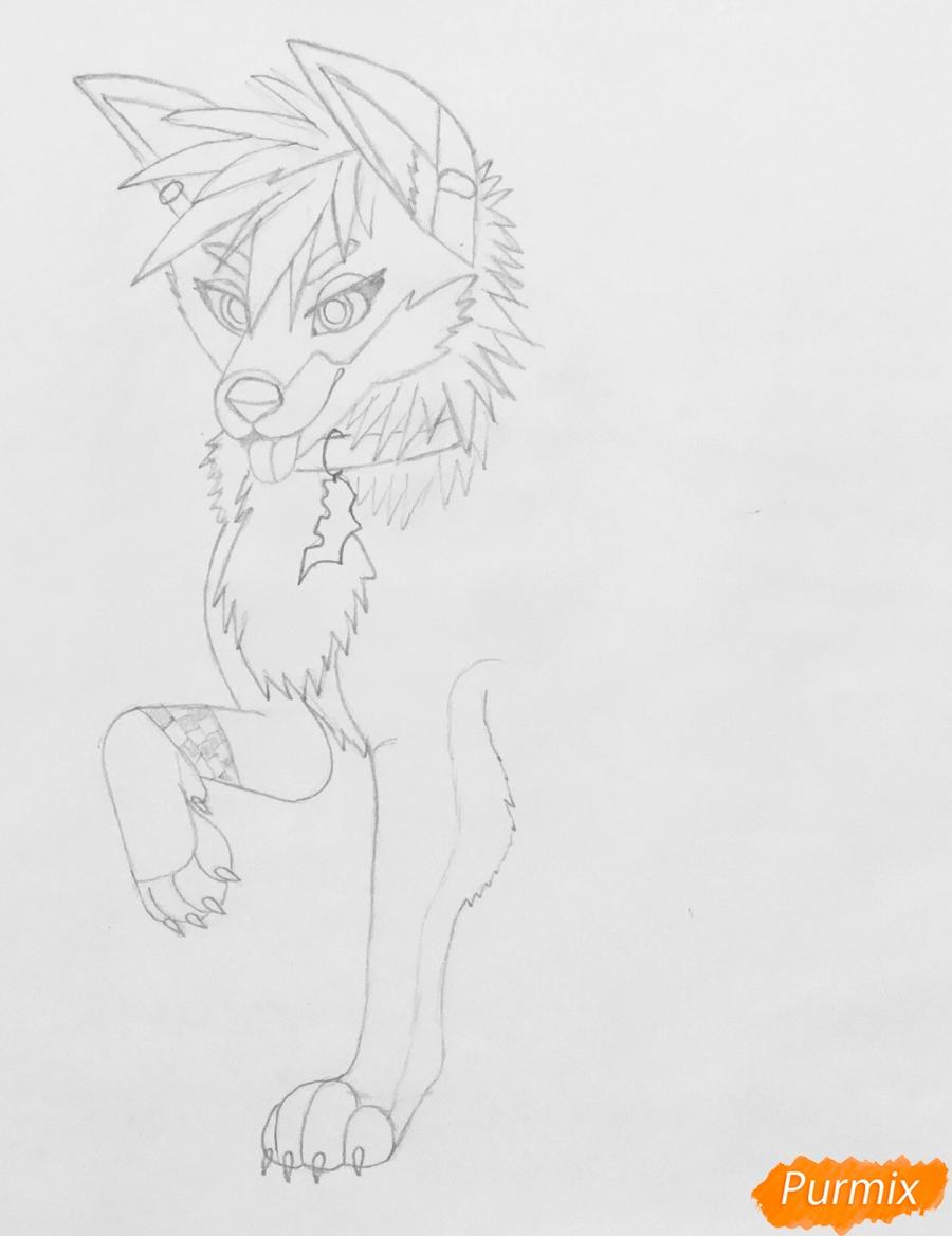 Рисуем трёхцветного аниме лиса с ошейником и с серёжками в ушах - фото 4