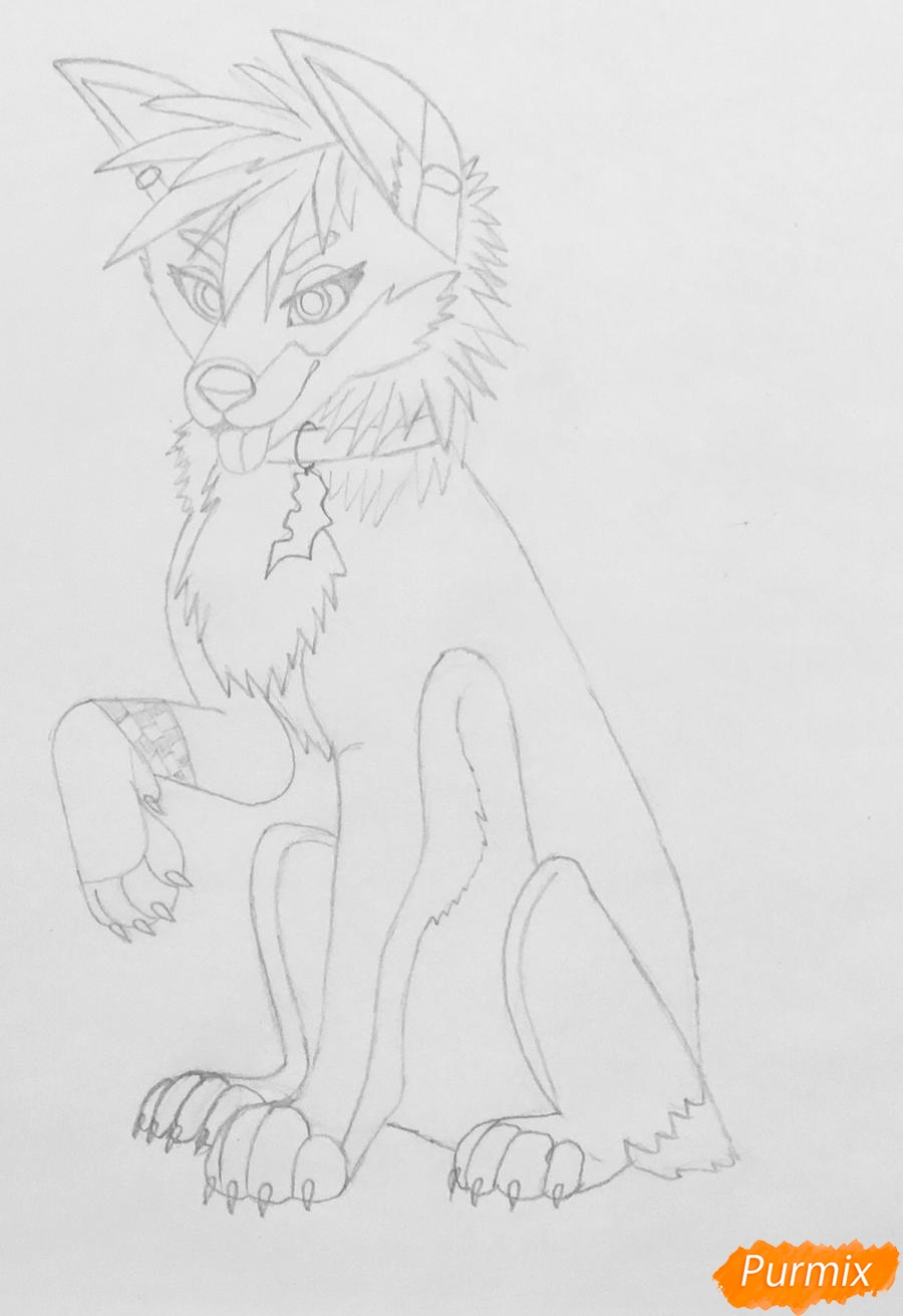 Рисуем трёхцветного аниме лиса с ошейником и с серёжками в ушах - фото 5
