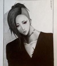 Рисуем Уту из аниме Токийский гуль карандашами