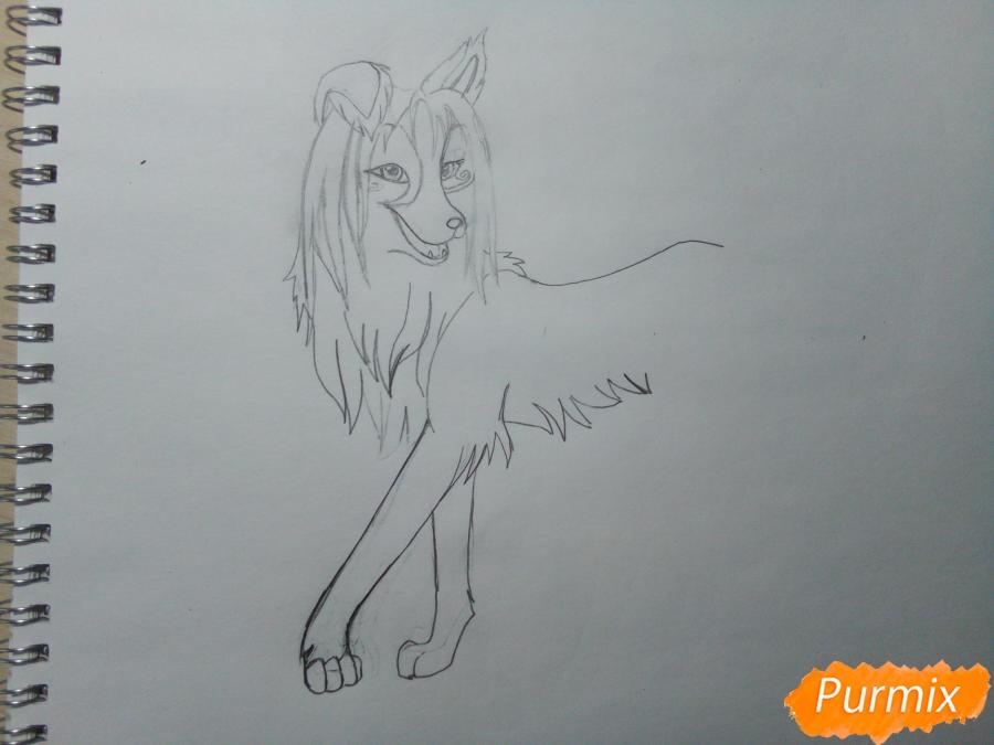 Рисуем волчицу с голубо-коричневым окрасом - шаг 3