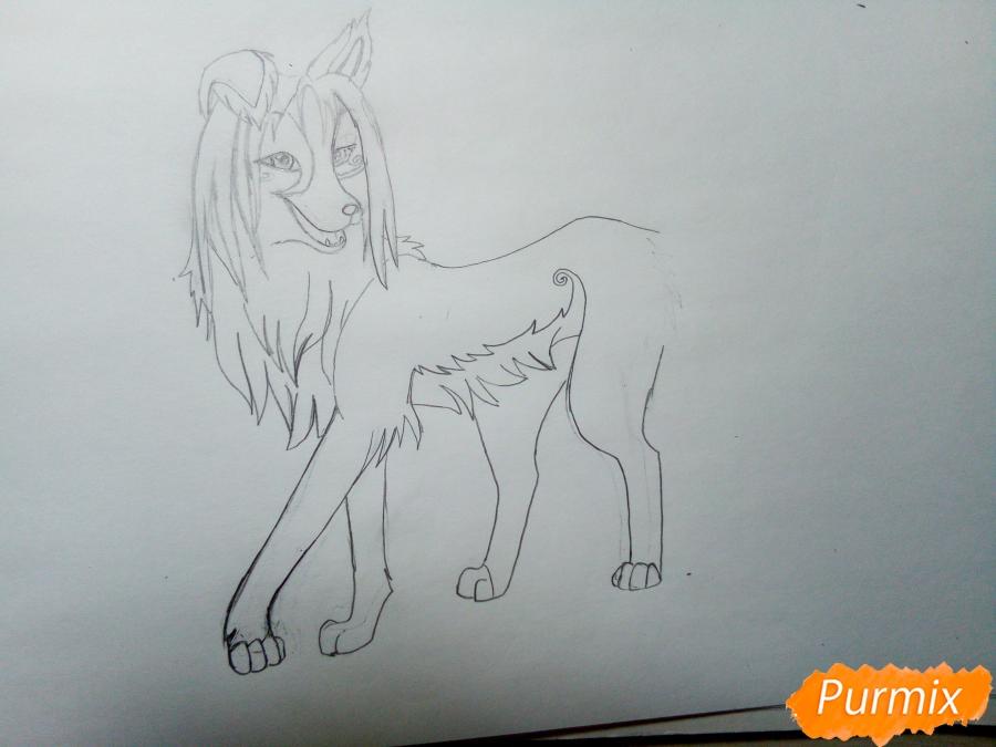 Рисуем волчицу с голубо-коричневым окрасом - шаг 4