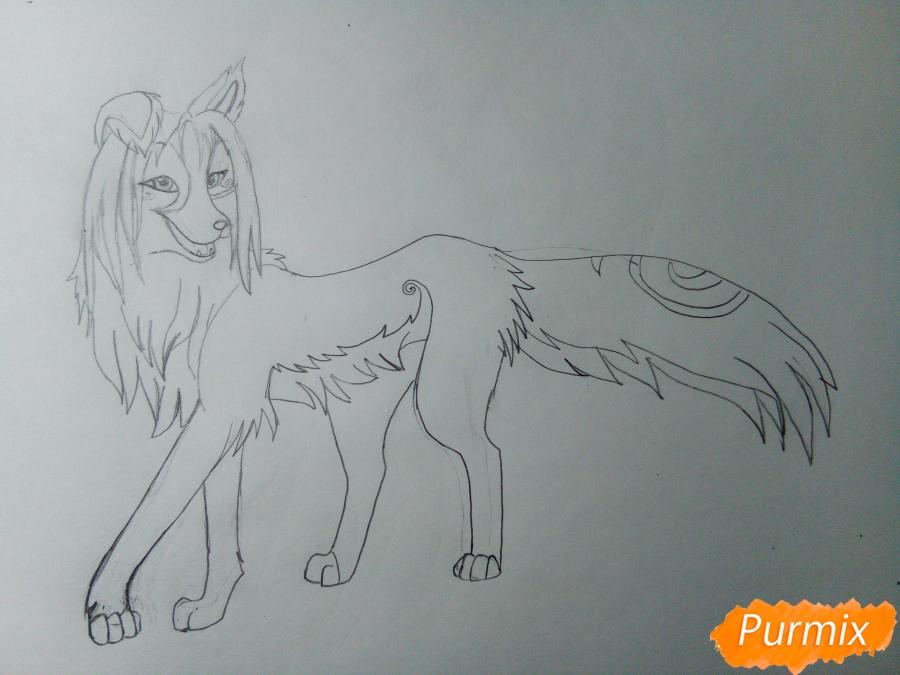 Рисуем волчицу с голубо-коричневым окрасом - шаг 5