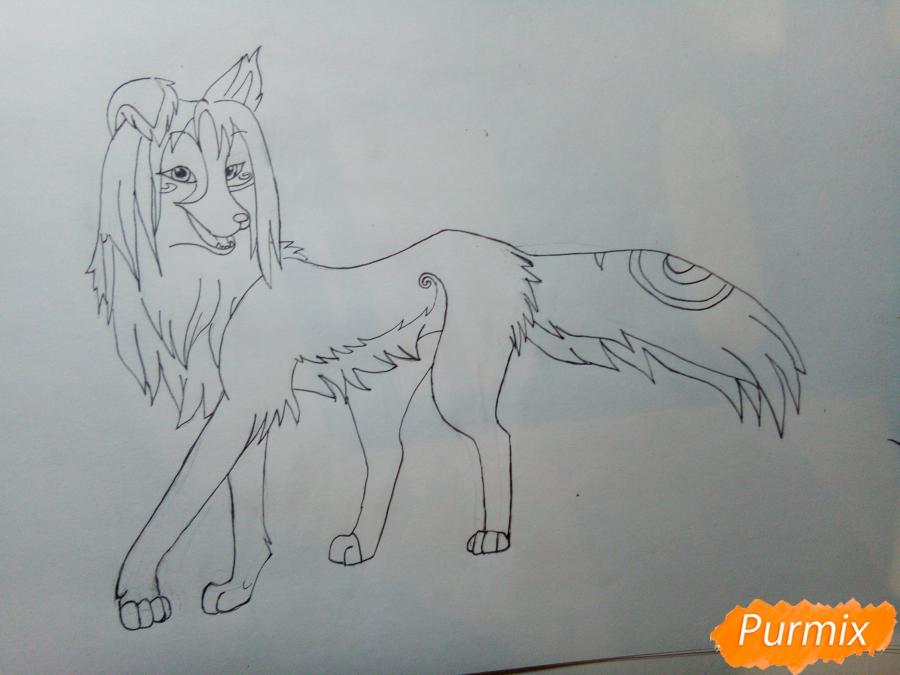 Рисуем волчицу с голубо-коричневым окрасом - шаг 6