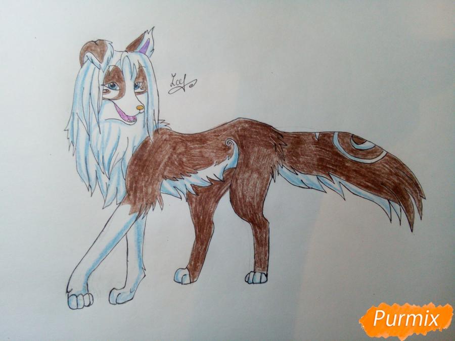 Рисуем волчицу с голубо-коричневым окрасом - шаг 8