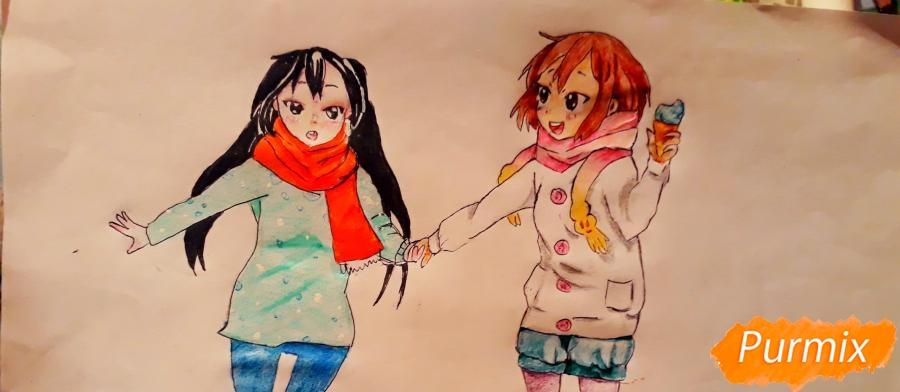 Рисуем Юи и Адзусу из аниме K-on карандашами поэтапно