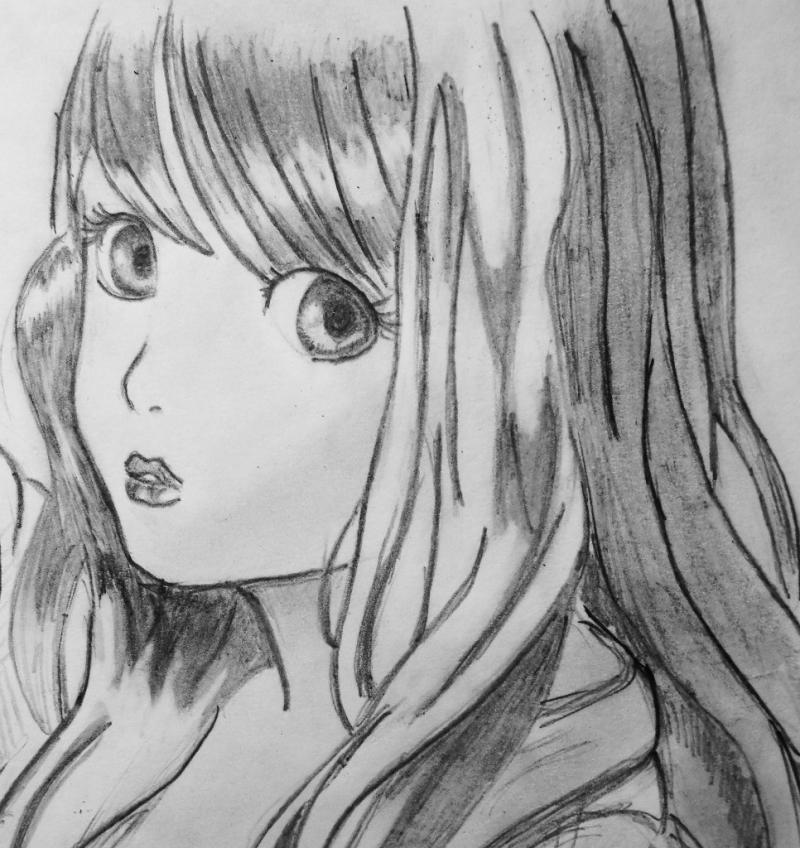 Рисуем красивую аниме девушку с длинными волосами - шаг 3