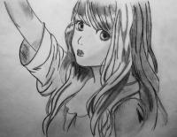 Рисуем аниме девушку на бумаге карандашом