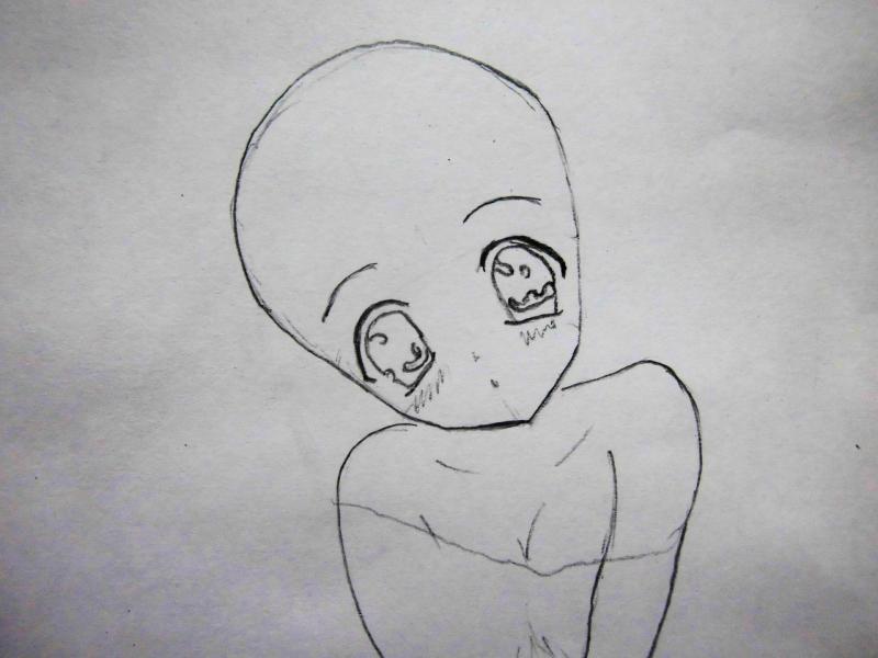 Рисуем сидящую аниме девушку-кошку - шаг 2