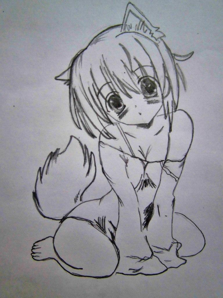 Рисуем сидящую аниме девушку-кошку - шаг 5