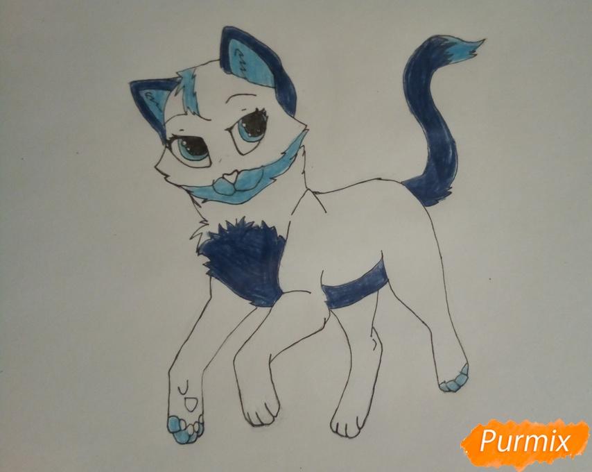 Синяя аниме кошечка - шаг 6