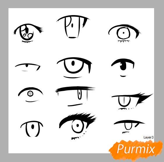 Азы в рисовании глаза в стиле аниме - шаг 4