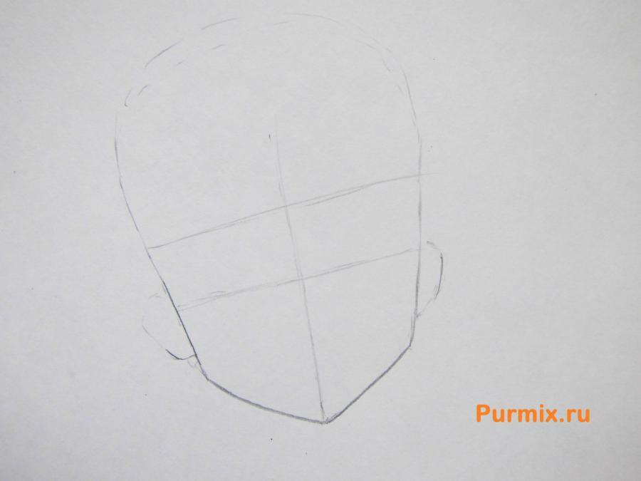Учимся рисовать портрет Мио Акияму простымb карандашами - шаг 1