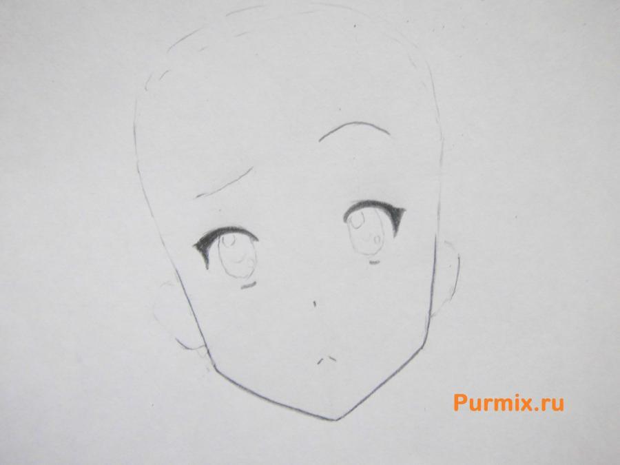 Учимся рисовать портрет Мио Акияму простымb карандашами - шаг 2