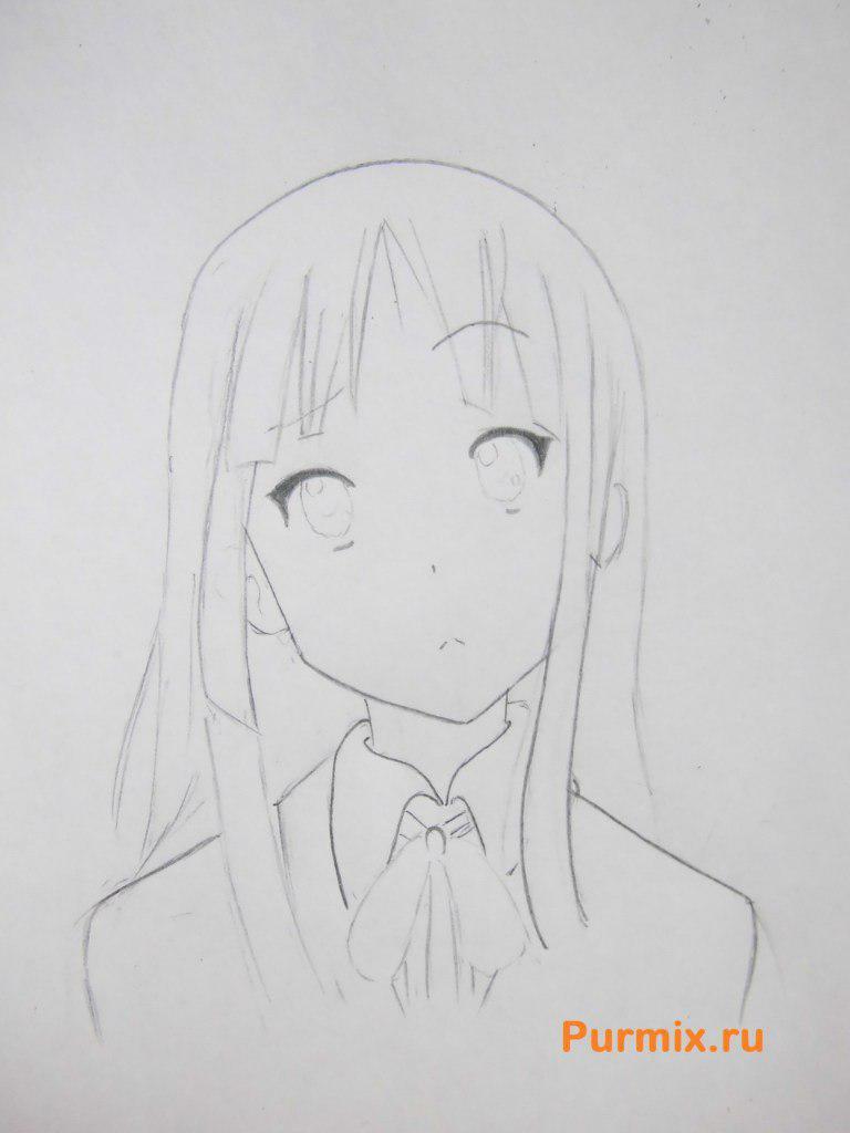 Учимся рисовать портрет Мио Акияму простымb карандашами - шаг 4