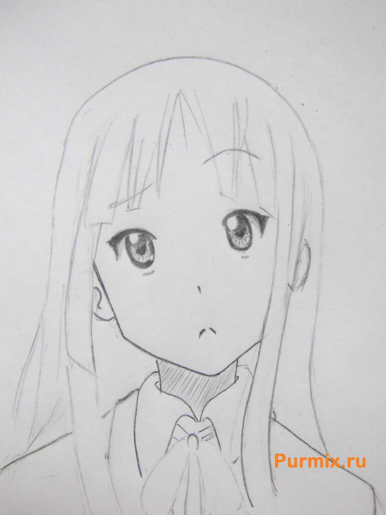 Учимся рисовать портрет Мио Акияму простымb карандашами - шаг 5