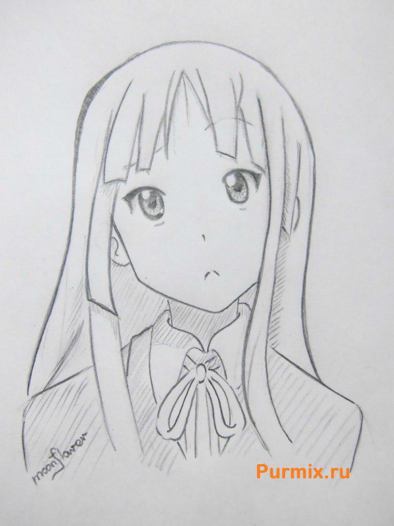 Учимся рисовать портрет Мио Акияму простымb карандашами - шаг 7