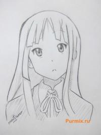 Учимся рисовать Мио Акияму из аниме K-on простым карандашом