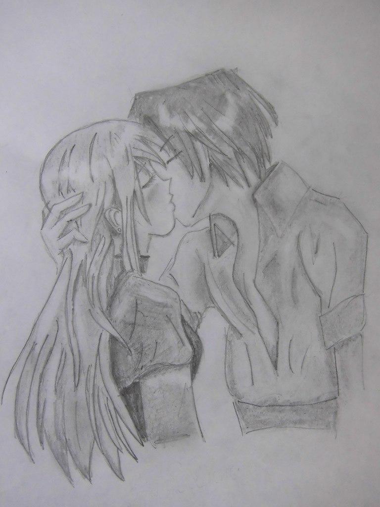 Учимся рисовать целующуюся аниме пару - шаг 12