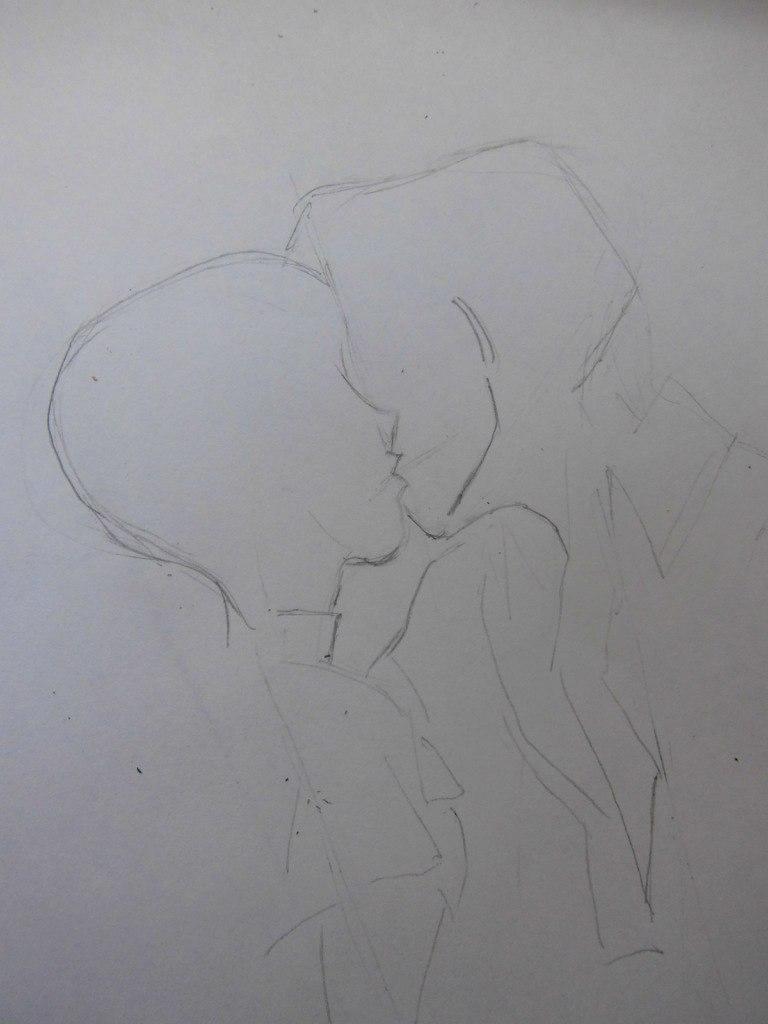 Учимся рисовать целующуюся аниме пару - шаг 2