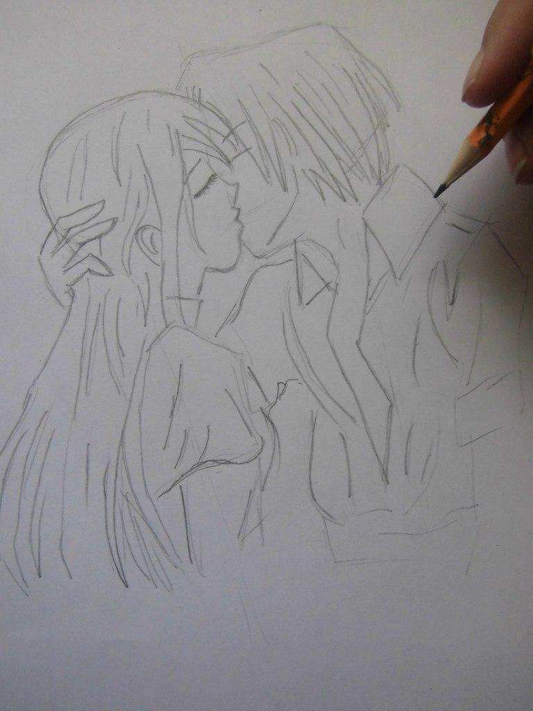 Учимся рисовать целующуюся аниме пару - шаг 3