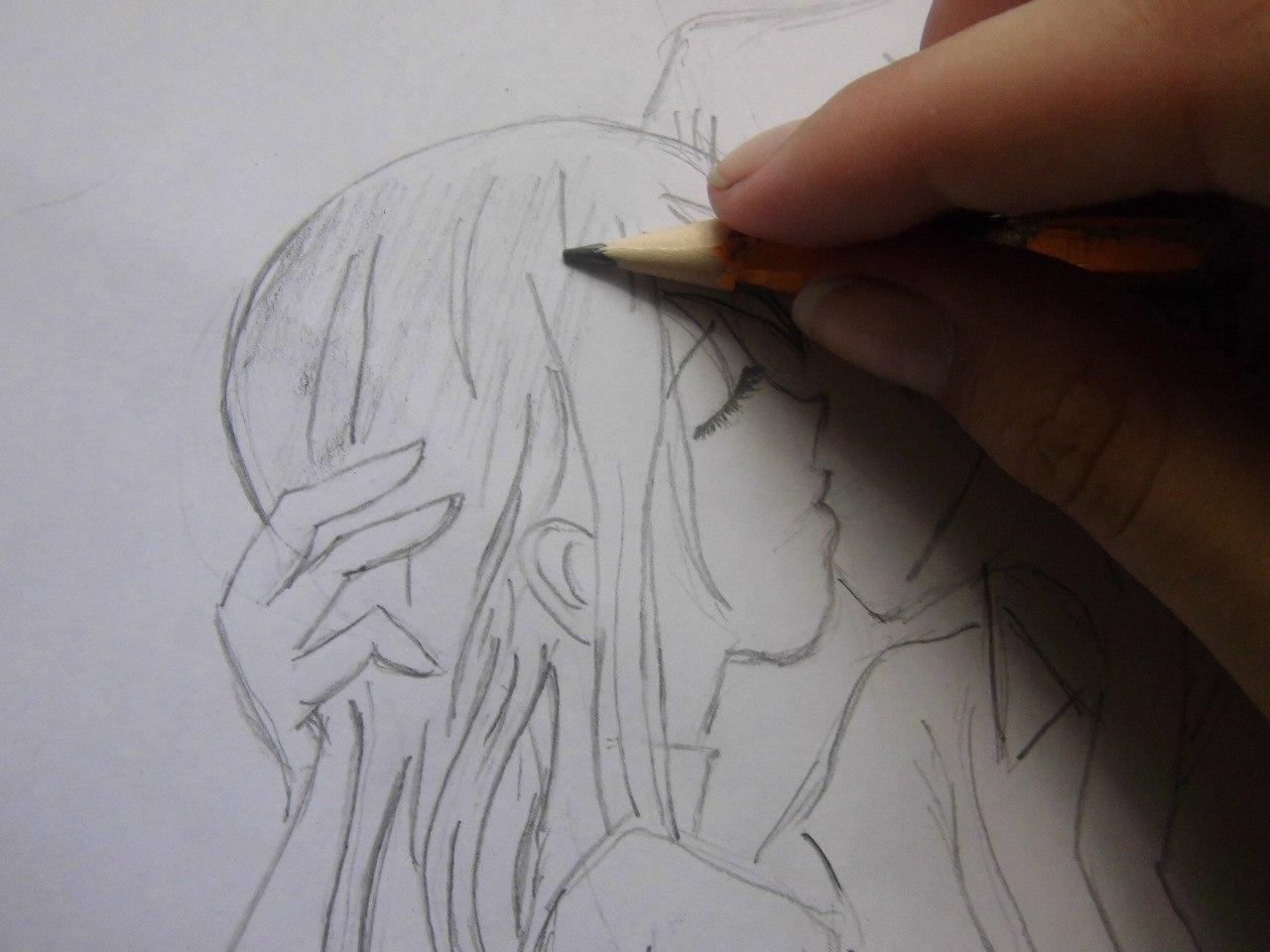 Учимся рисовать целующуюся аниме пару - шаг 4