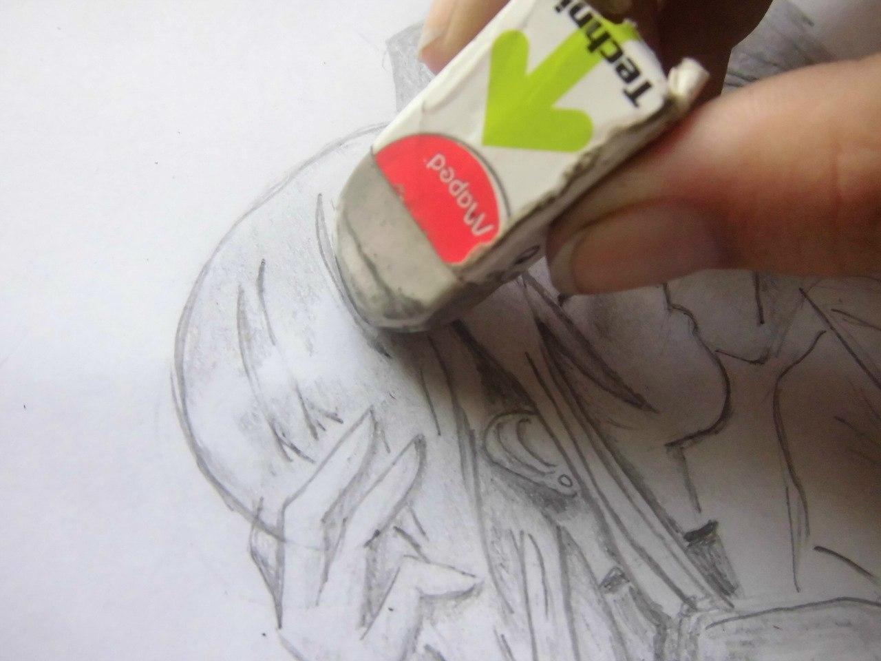 Учимся рисовать целующуюся аниме пару - шаг 5
