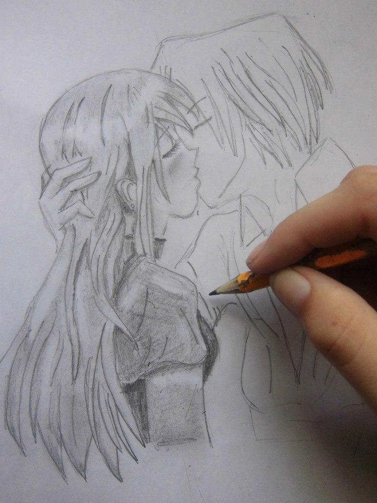 Учимся рисовать целующуюся аниме пару - шаг 7