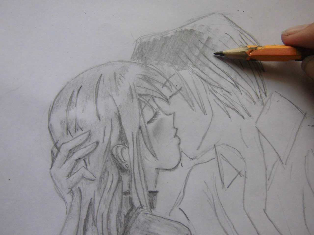 Учимся рисовать целующуюся аниме пару - шаг 8