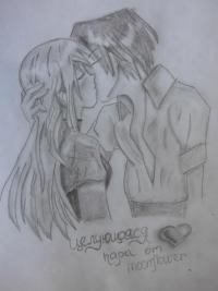 Урок рисования карандашом целующейся аниме пары