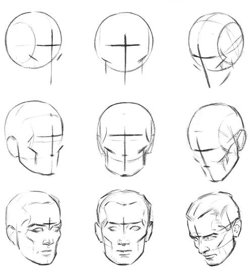 Крест и средняя линия в рисовании головы - шаг 1