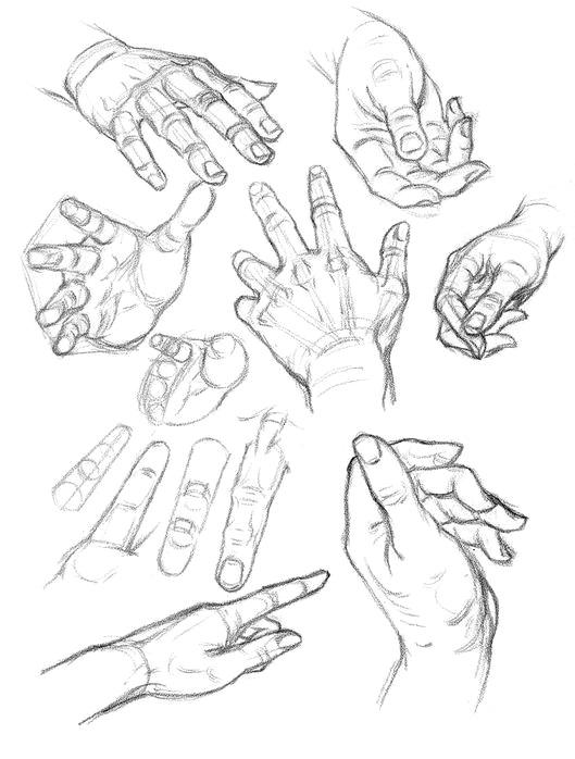 ракурс рисования рук