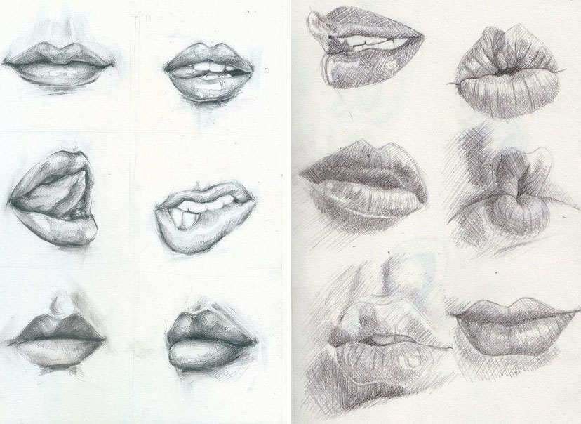 рисунок эмоции на губах простым карандашом