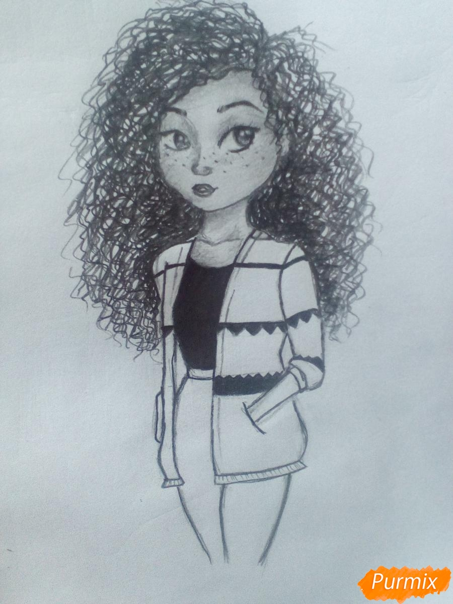 Рисуем миленькую кудрявую девушку - шаг 12